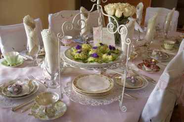 Tea Table with Spring Egg and Violet Tea Sandwiches