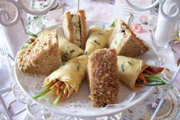 Harvest Chicken Tea Sandwiches and Savory Crepe Coronets