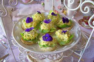 Spring Egg and Violet Tea Sandwiches