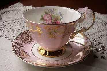 Pink Teacup with Demitasse Spoon