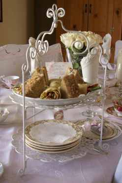 Tiered Server with Harvest Chicken Tea Sandwiches and Savory Crepe Coronets